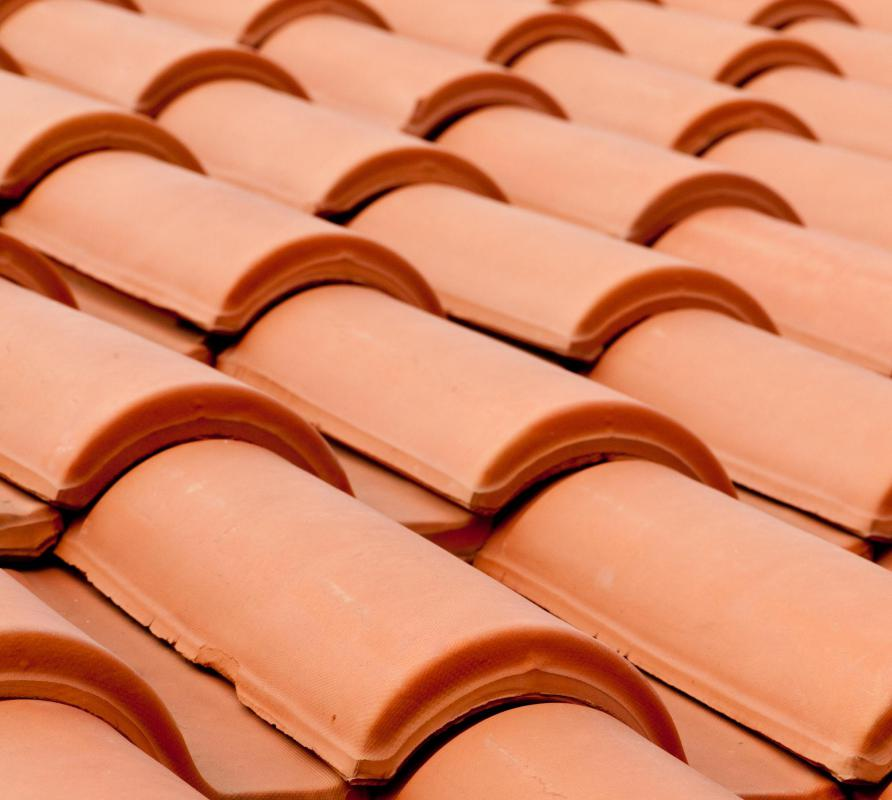 Ceramic roofing shingles.