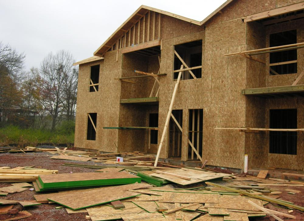 Plywood comes in a number of forms, and is commonly used to construct houses.