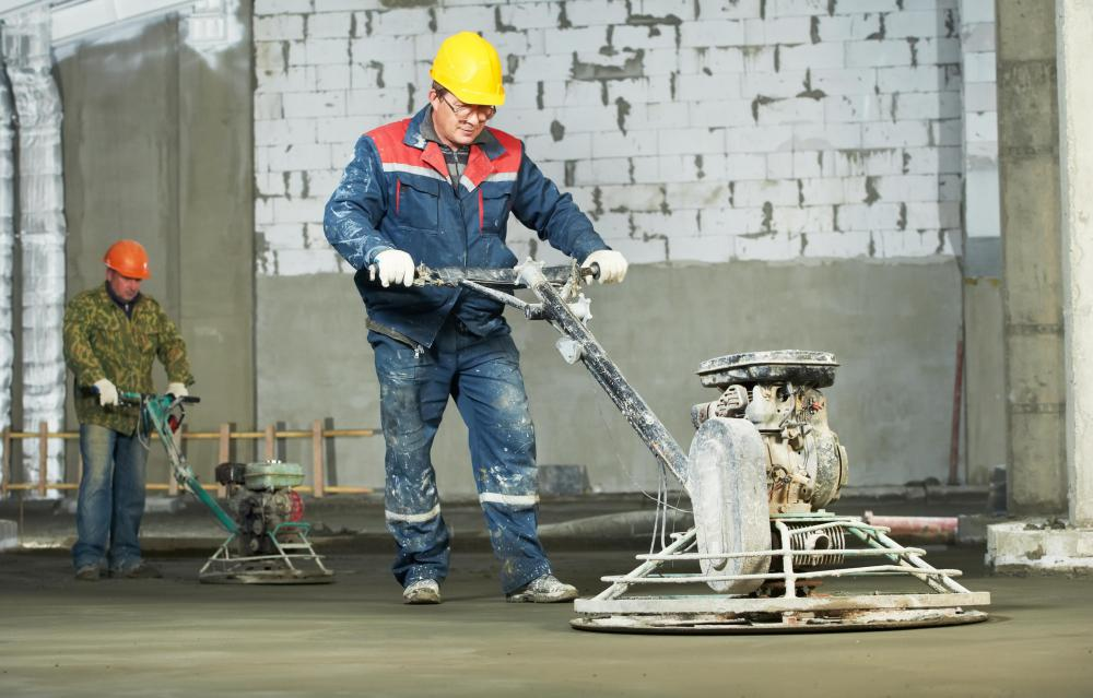 If pouring a large slab for a patio, a power trowel may be the best way to finish it.